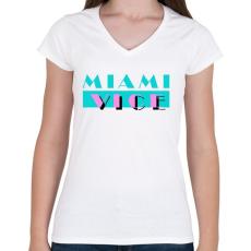 PRINTFASHION Miami Vice - Női V-nyakú póló - Fehér