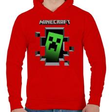 PRINTFASHION Minecraft - Férfi kapucnis pulóver - Piros