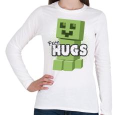 PRINTFASHION Minecraft ölelés - Női hosszú ujjú póló - Fehér