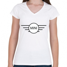 PRINTFASHION Mini - Női V-nyakú póló - Fehér