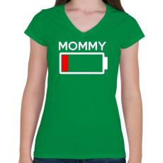 PRINTFASHION MOMMY - Női V-nyakú póló - Zöld