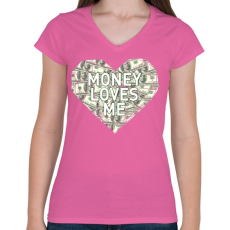 PRINTFASHION Money loves me - Női V-nyakú póló - Rózsaszín