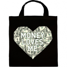 PRINTFASHION Money loves me - Vászontáska - Fekete