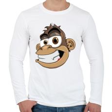 PRINTFASHION Monkey - Férfi hosszú ujjú póló - Fehér