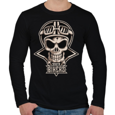 PRINTFASHION Motoros koponya - Férfi hosszú ujjú póló - Fekete