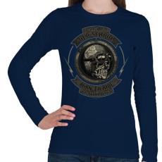PRINTFASHION Motoros koponya - Női hosszú ujjú póló - Sötétkék