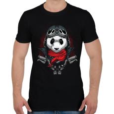 PRINTFASHION Motoros panda - Férfi póló - Fekete