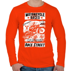 PRINTFASHION Motorverseny - Férfi hosszú ujjú póló - Narancs