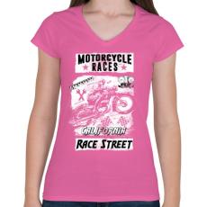 PRINTFASHION Motorverseny - Női V-nyakú póló - Rózsaszín