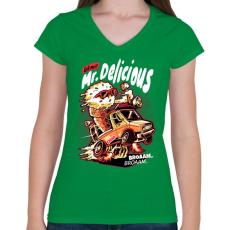 PRINTFASHION Mr Delicious - Női V-nyakú póló - Zöld