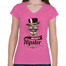 PRINTFASHION Mr. Hipszter - Női V-nyakú póló - Rózsaszín