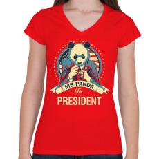 PRINTFASHION Mr. Panda - Női V-nyakú póló - Piros