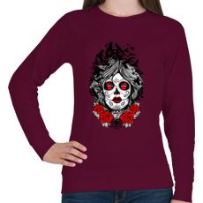 PRINTFASHION Muerte holló hölgy - Női pulóver - Bordó