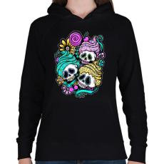 PRINTFASHION Muffin koponyák - Női kapucnis pulóver - Fekete