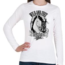 PRINTFASHION mustang - Női hosszú ujjú póló - Fehér