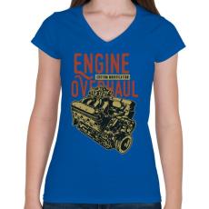 PRINTFASHION Nagyszervíz - Női V-nyakú póló - Királykék