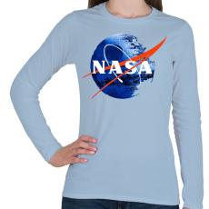 PRINTFASHION NASA Halálcsillag logo - Női hosszú ujjú póló - Világoskék
