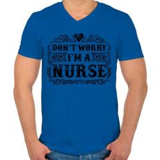 PRINTFASHION Ne aggódj, én vagyok a nővér - Férfi V-nyakú póló - Királykék