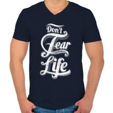 PRINTFASHION Ne félj az élettől - Férfi V-nyakú póló - Sötétkék