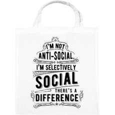 PRINTFASHION Nem vagyok antiszociális - Vászontáska - Fehér