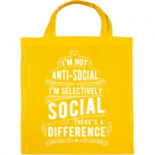 PRINTFASHION Nem vagyok antiszociális - Vászontáska - Sárga kézitáska és bőrönd