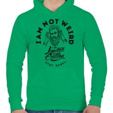 PRINTFASHION Nem vagyok furcsa - Férfi kapucnis pulóver - Zöld
