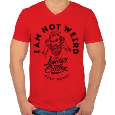 PRINTFASHION Nem vagyok furcsa - Férfi V-nyakú póló - Piros