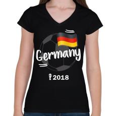 PRINTFASHION Németország - Női V-nyakú póló - Fekete