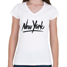 PRINTFASHION New York - Női V-nyakú póló - Fehér