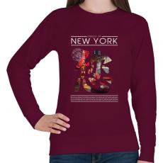 PRINTFASHION New York utcái - Női pulóver - Bordó