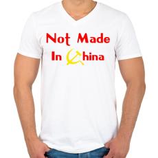 PRINTFASHION not-made-in-china-2 - Férfi V-nyakú póló - Fehér