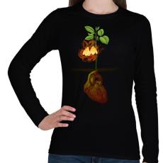 PRINTFASHION Növény világ - Női hosszú ujjú póló - Fekete