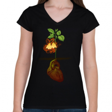 PRINTFASHION Növény világ - Női V-nyakú póló - Fekete
