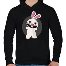 PRINTFASHION nyuszi - Férfi kapucnis pulóver - Fekete