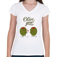 PRINTFASHION Oliva szerelem - Női V-nyakú póló - Fehér