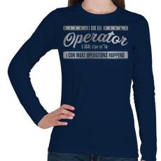 PRINTFASHION Operator - Női hosszú ujjú póló - Sötétkék