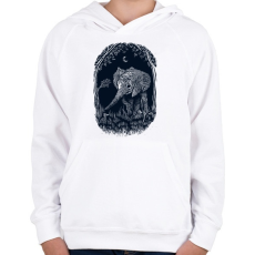PRINTFASHION Ormányos - Gyerek kapucnis pulóver - Fehér