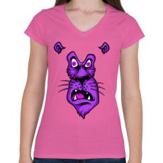 PRINTFASHION Oroszlán sokkban - Női V-nyakú póló - Rózsaszín