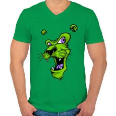 PRINTFASHION Oroszlánmosoly - Férfi V-nyakú póló - Zöld