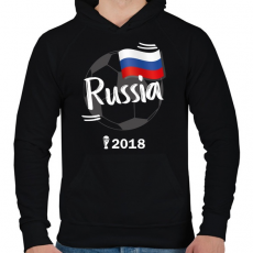 PRINTFASHION Oroszország - Férfi kapucnis pulóver - Fekete