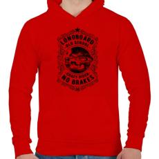 PRINTFASHION Őrült gördeszkás - Férfi kapucnis pulóver - Piros