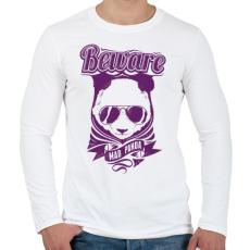PRINTFASHION Őrült panda - Férfi hosszú ujjú póló - Fehér