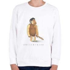 PRINTFASHION ősember - Gyerek pulóver - Fehér