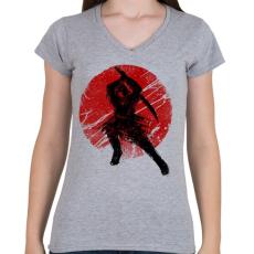 PRINTFASHION Ősi szamuráj - Női V-nyakú póló - Sport szürke