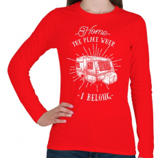 PRINTFASHION Otthon bárhol lehet - Női hosszú ujjú póló - Piros