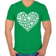 PRINTFASHION Otthon - Férfi V-nyakú póló - Zöld