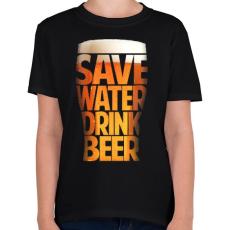 PRINTFASHION Óvd a vizet, igyál sört - Gyerek póló - Fekete