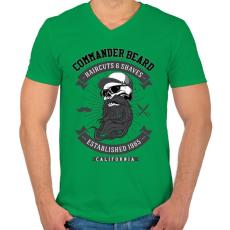 PRINTFASHION Parancsnoki szakáll - Férfi V-nyakú póló - Zöld