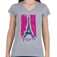 PRINTFASHION Párizs - Női V-nyakú póló - Sport szürke