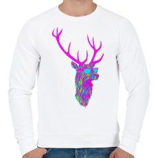 PRINTFASHION Party deer - Férfi pulóver - Fehér